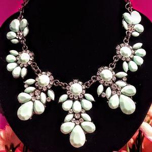 Betsey Johnson Green Enamel Rhinestone Necklace